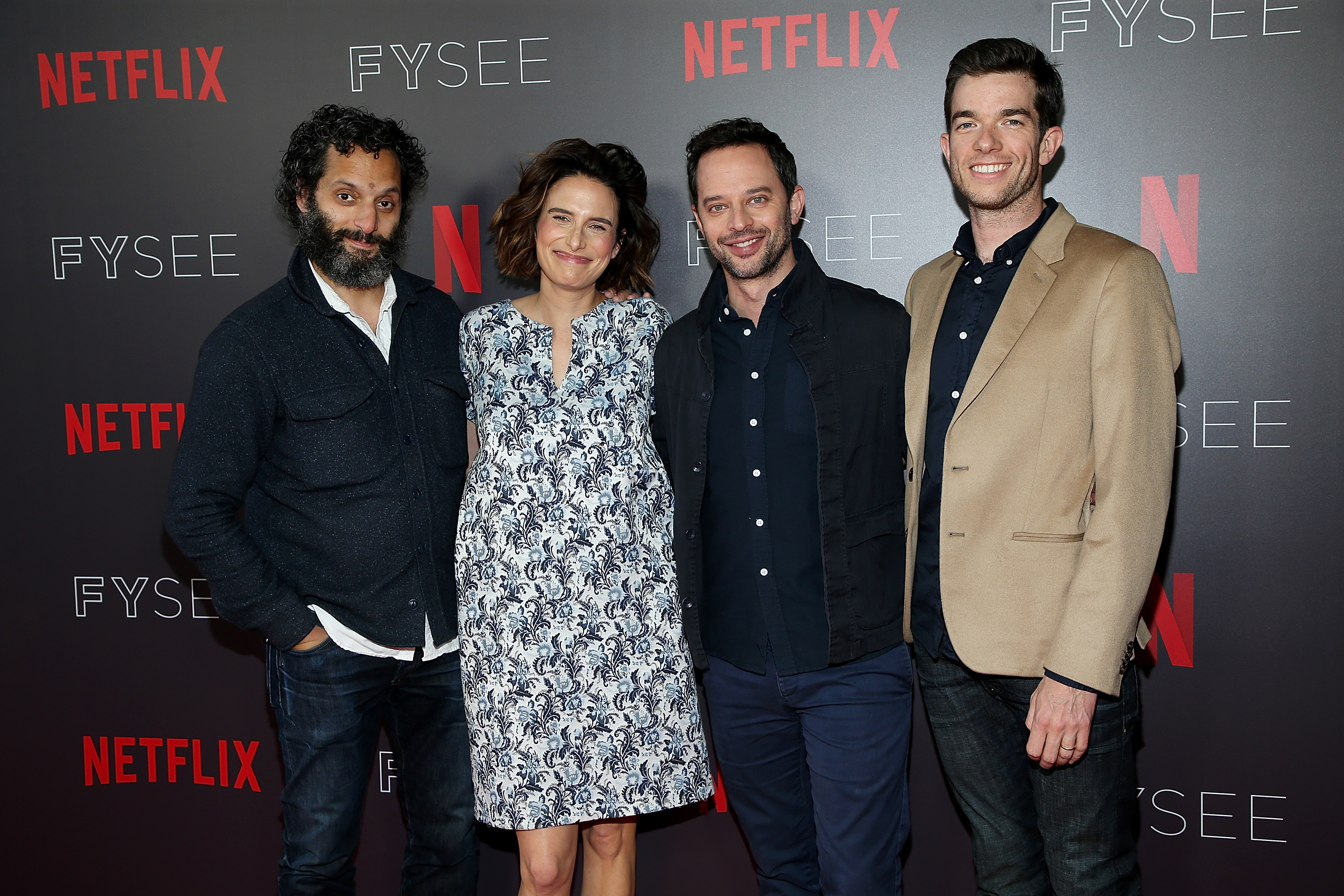 (L-R) Jason Mantzoukas, Jessi Klein, Nick Kroll, and John Mulaney attend the #NETFLIXFYSEE Animation Panel Featuring 'Big Mouth' and 'BoJack Horseman' at Netflix FYSEE at Raleigh Studios on May 21, 2018, in Los Angeles, California. (Getty Images)