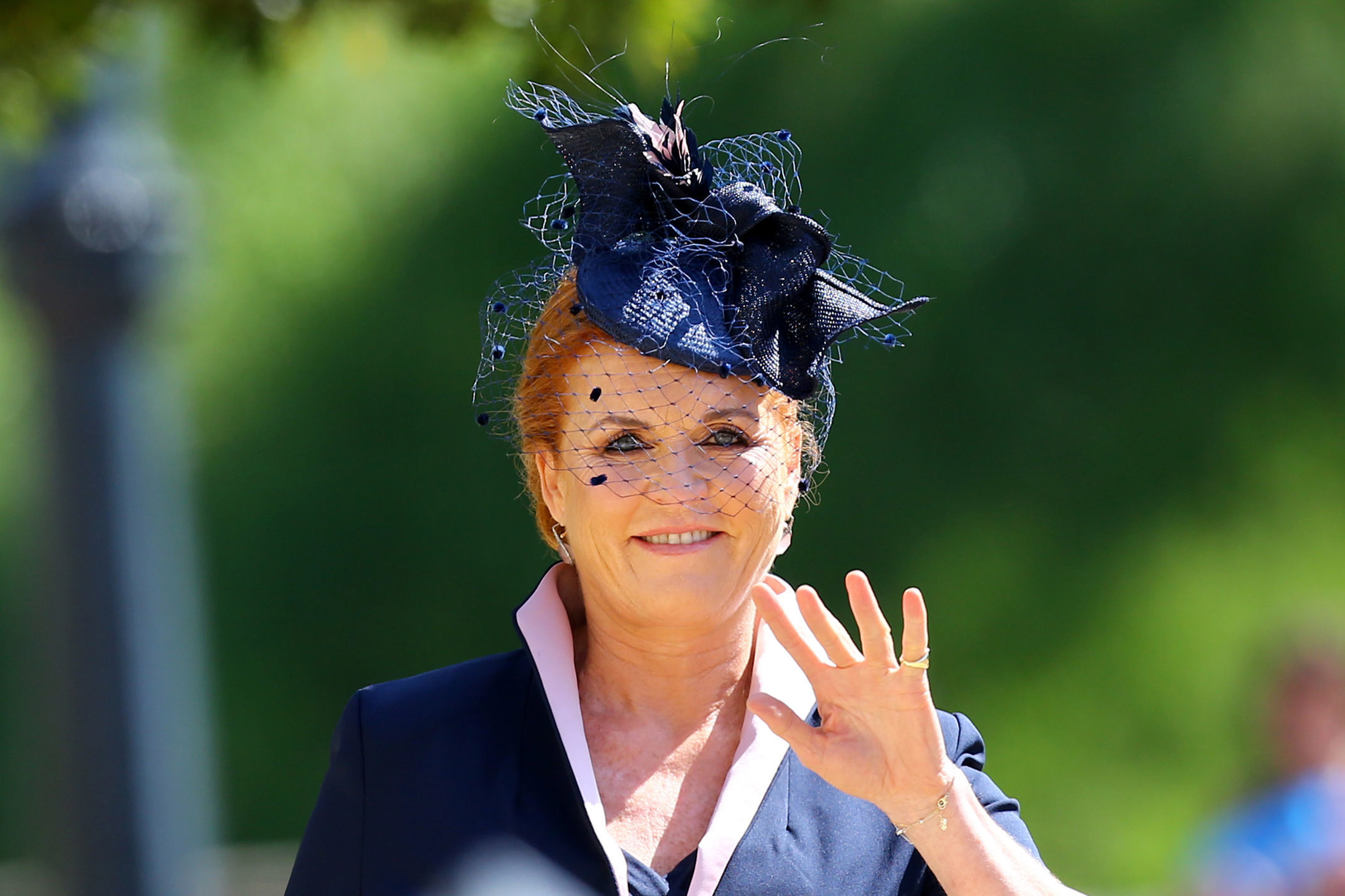 Sarah, Duchess of York arrives at St George's Chapel at Windsor Castle before the wedding of Prince Harry to Meghan Markle on May 19, 2018 in Windsor, England. (Photo by Gareth Fuller - WPA Pool/Getty Images)
