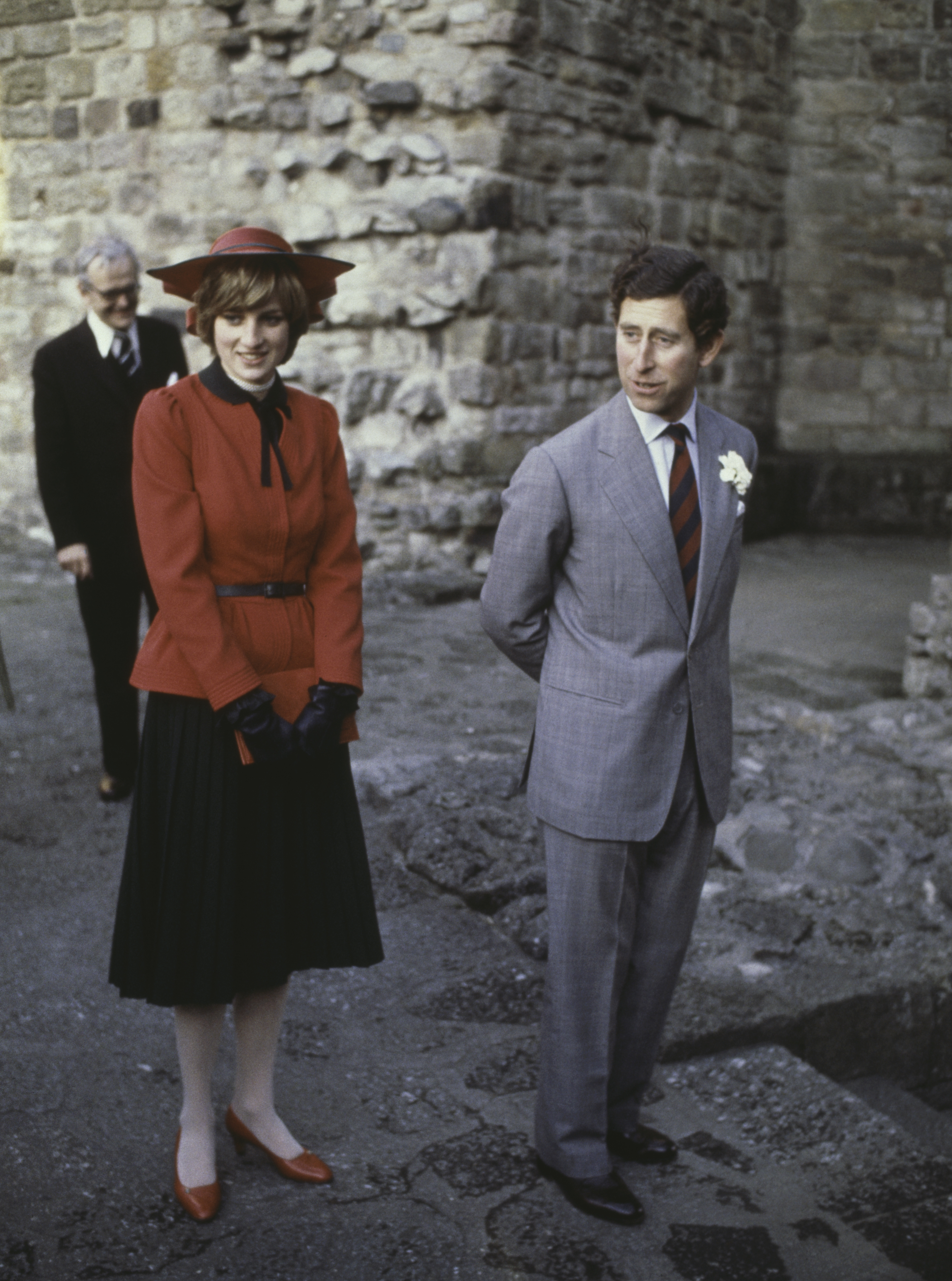 Prince Charles Prince Charles and the Princess of Wales at Caernarvon Castle during an official tour of Wales, 27th October 1981. (Photo by Hulton Archive/Getty Images)