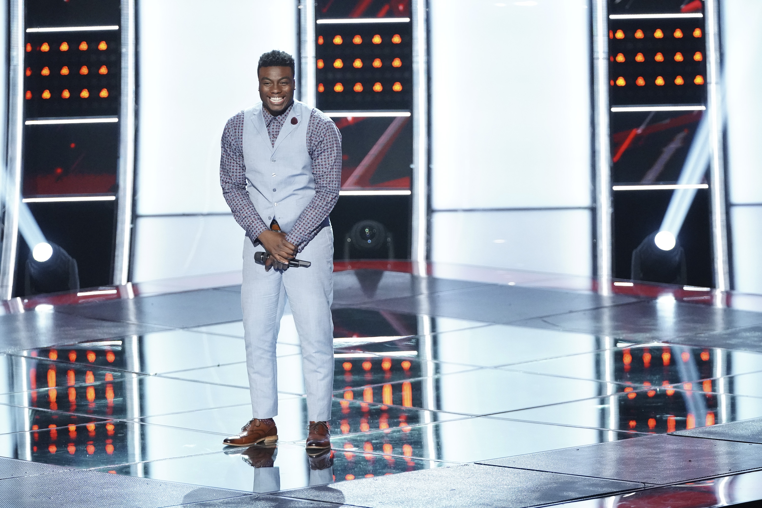 "THE VOICE -- ""Blind Auditions"" Episode 1505 -- Pictured: Kirk Jay -- (Photo by: Tyler Golden/NBC)"