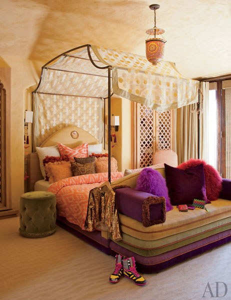 Willow's Bedroom:  The iron four-poster in Willows bedroom is draped with a canopy of patterned silk. Roger Davies 2011