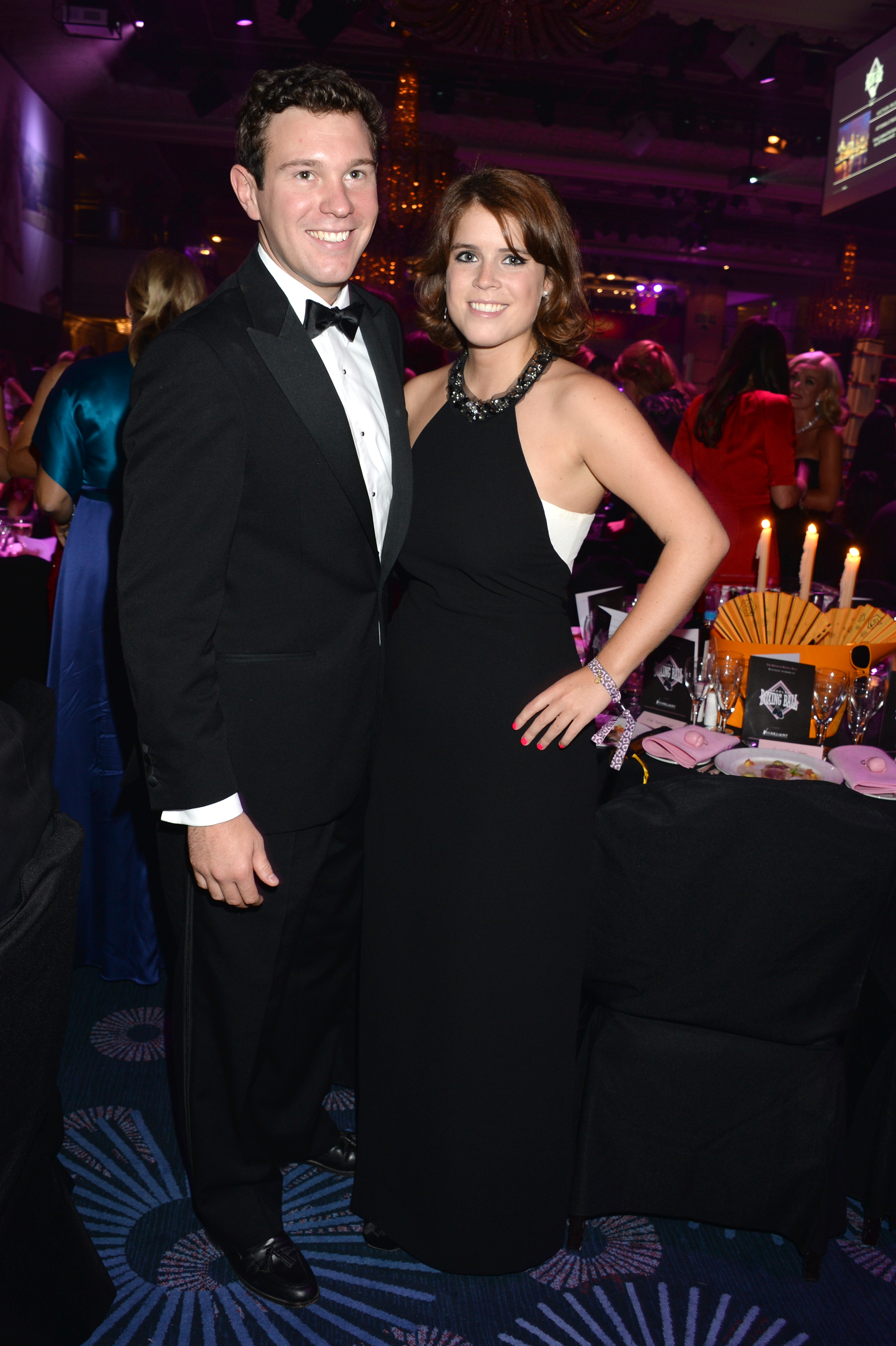 In this handout image provided by the Boodles Boxing Ball Committee, Jack Brooksbank and Princess Eugenie of York pose at the Boodles Boxing Ball 2013 on September 21, 2013, at the Grosvenor House in London, England.