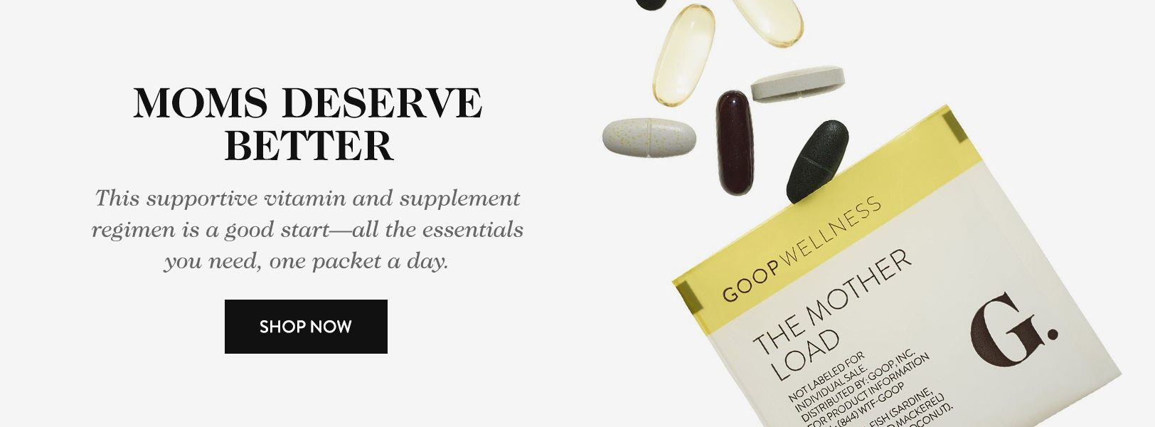 Goop's Mother Load vitamin supplement packets have always been marketed toward pregnant women or those wanting to become pregnant. (Source: goop.com)