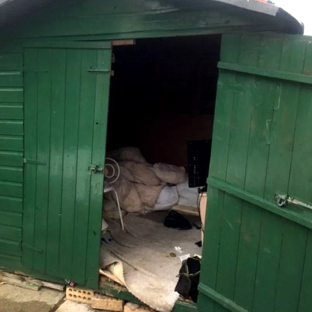 The disheveled man lived in this shed for over 40 years, authorities reported. (GLAA)