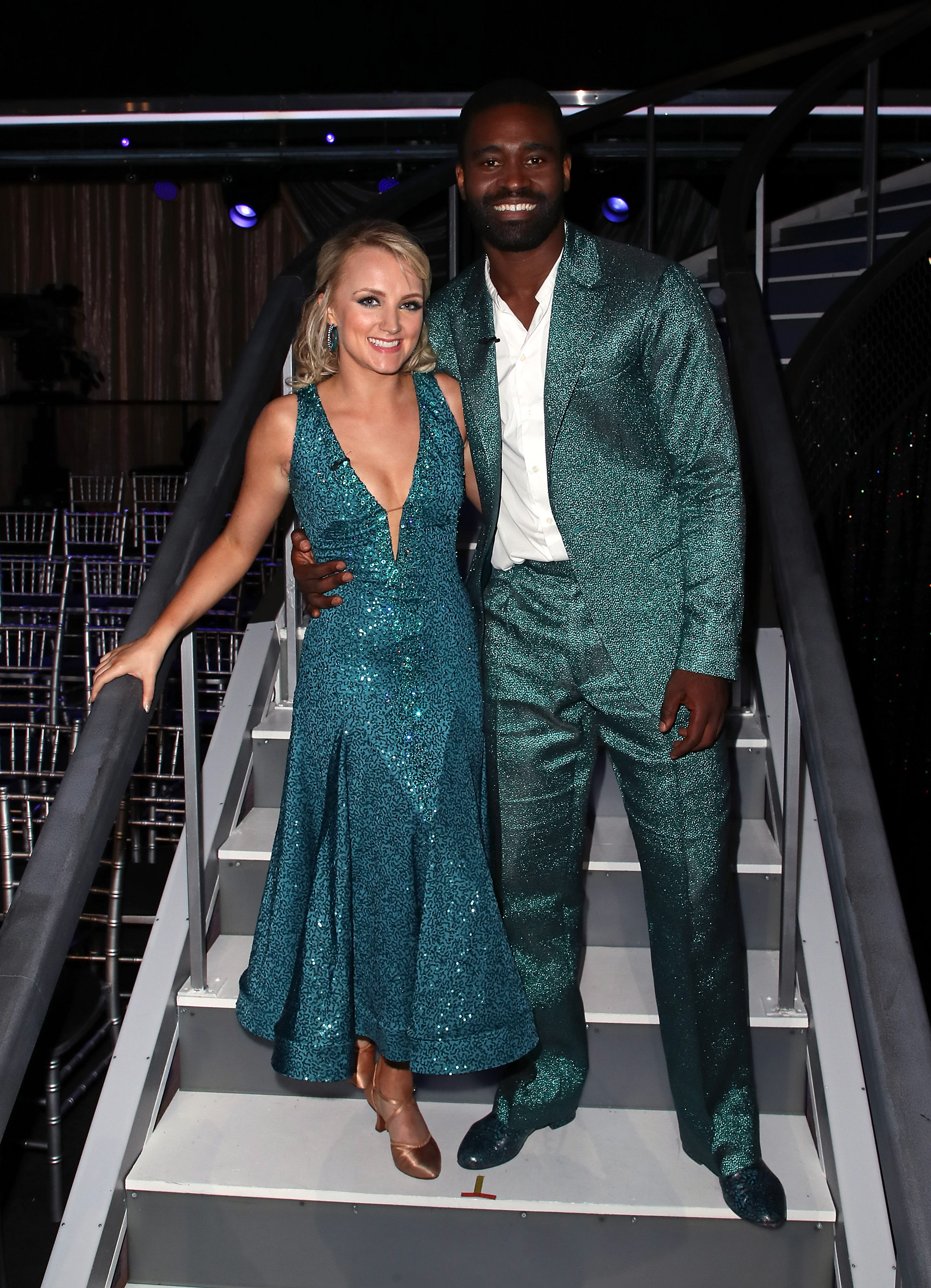 Evanna Lynch (L) and Keo Motsepe pose at 'Dancing with the Stars' Season 27 at CBS Television City on September 24, 2018 in Los Angeles, California.