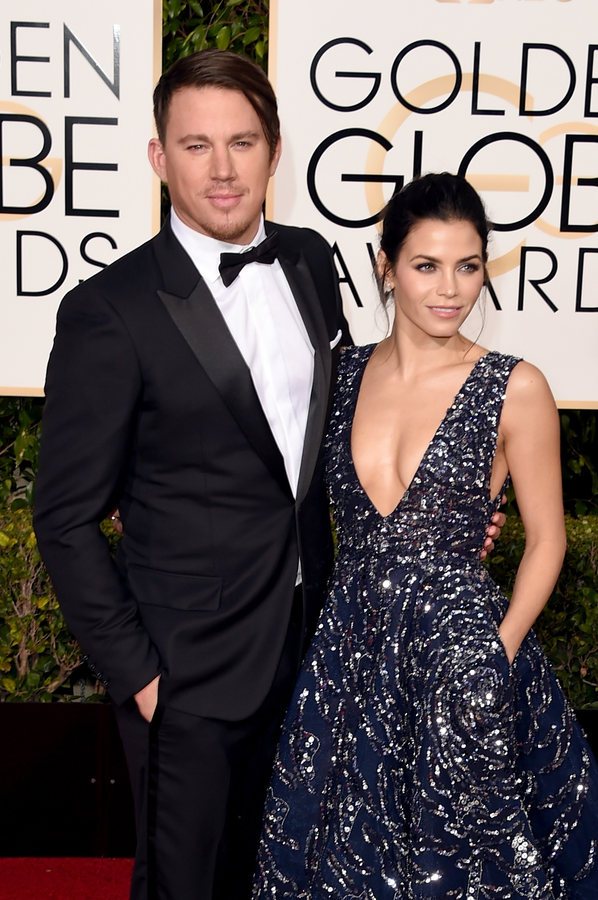 Actors Channing Tatum (L) and Jenna Dewan Tatum attend the 73rd Annual Golden Globe Awards held at the Beverly Hilton Hotel on January 10, 2016 in Beverly Hills, California.