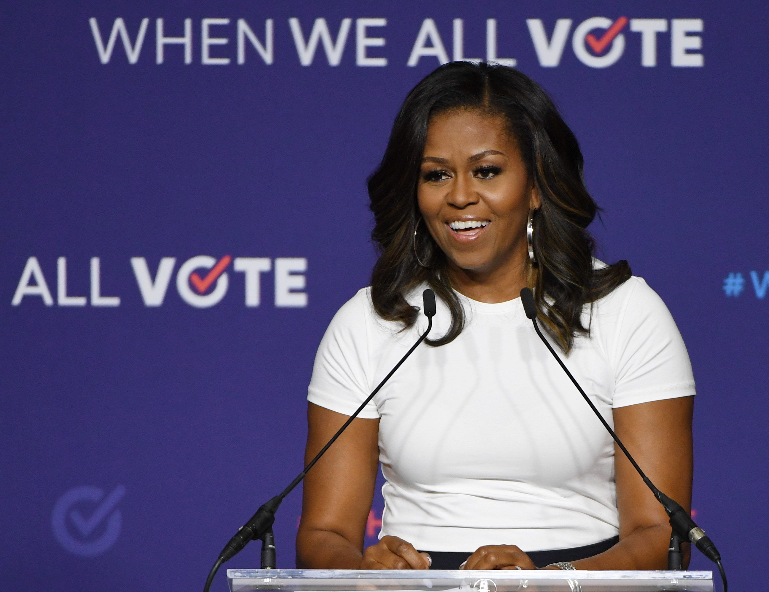 Former first lady Michelle Obama speaks during a rally for When We All Vote's National Week of Action at Chaparral High School on September 23, 2018 in Las Vegas, Nevada.